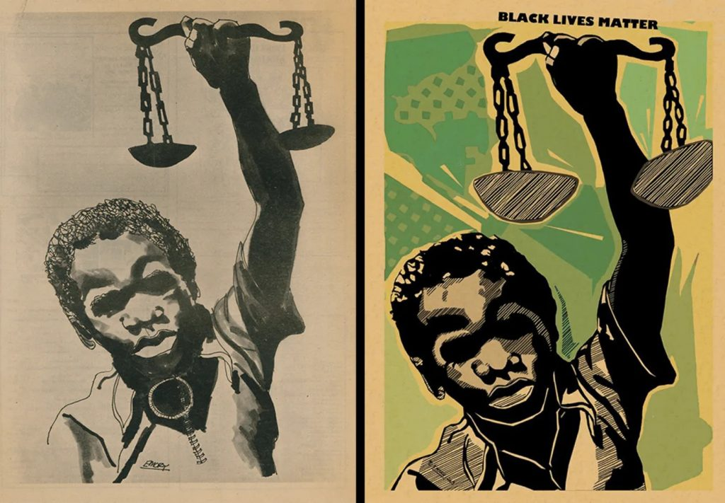 """diptych with original poster of a Black boy holding justice scales on the left, and a colorized, stylized version on the right with the text """"Black Lives Matter"""""""